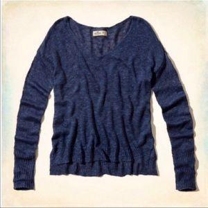 Hollister Navy Blue V Neck Light Sweater w/ Slits